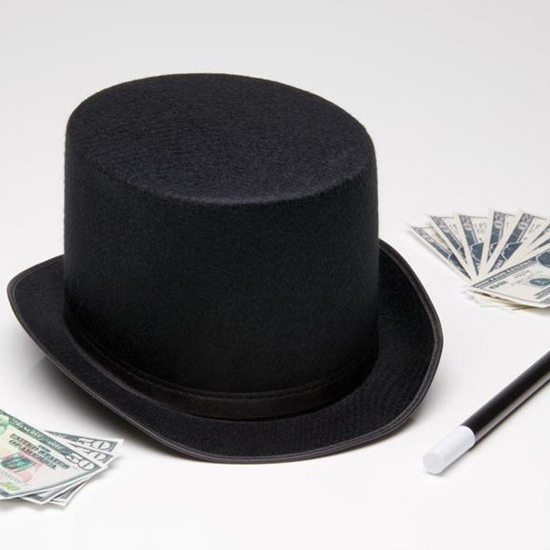 Top-Hat Halloween-Props Hatter Punk Black Magic Millinery/magician Trick-Cap FDC99 13cm/16cm-Height