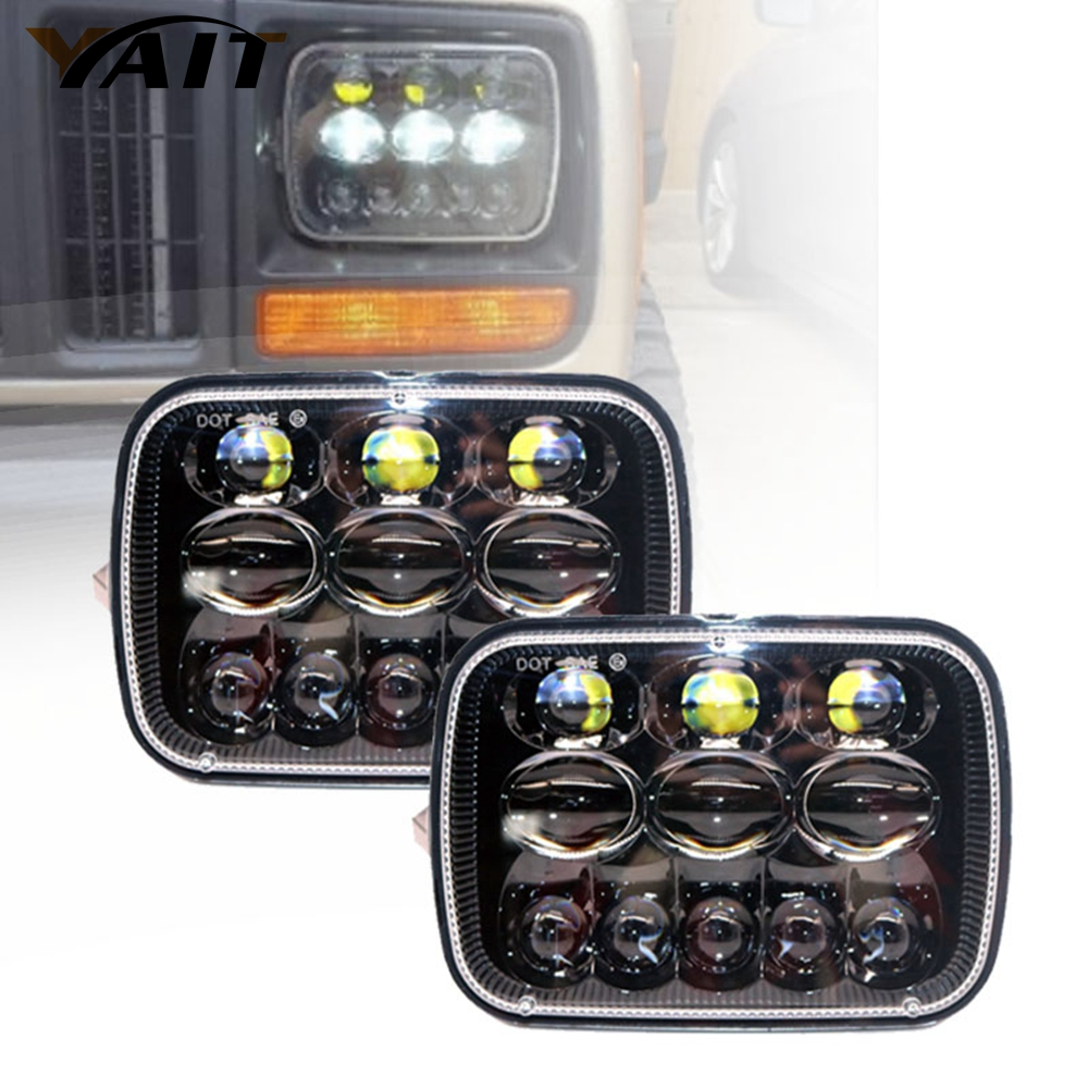 Yait LED 5x 7 6X7 Projector Rectangular Headlights Assembly For 87-95 Jeep Wrangler YJ 85-87 Chevy Truck Offroad 2pcs ...