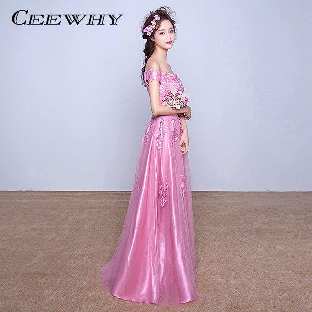 CEEWHY Boat Neck Vestido de Noche Largo 2017 Pink Prom Vestidos Robe ...