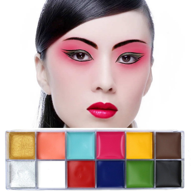 12 Colors Flash Tattoo Face Body Paint Oil Painting Art Halloween Party Fancy Beauty Makeup Tools M2 цена