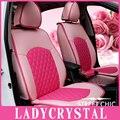 Ladycrystal Personalizado Almofadas de Assento de Carro Capa Rosa Bonito Para As Meninas de Couro PU Tampa de Assento Do Carro