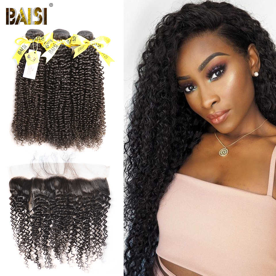 BAISI Hair Unprocessed Peruvian Curly Virgin Hair Weave 4 Bundles with Lace Frontal 100% Human Hair