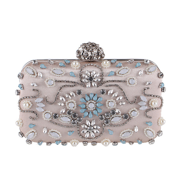 Colorful Diamonds Flowers Luxury Handbags Women Bags Designer Party Dress Pearl Chains Ladies Evening Clutch Bags Shoulder Bags