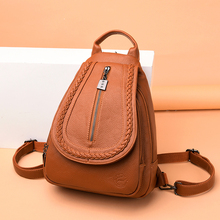 купить 2019 Classic Women Leather Backpacks For Girls Sac a Dos Female Backpack College Travel Bagpack Ladies Back Pack Mochilas Girl дешево