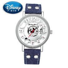 2017 Disney Kids Reloj Niños Reloj de La Manera Ocasional Lindo Fresco Relojes de pulsera de Cuarzo Niños reloj de Cuero Resistente Al Agua