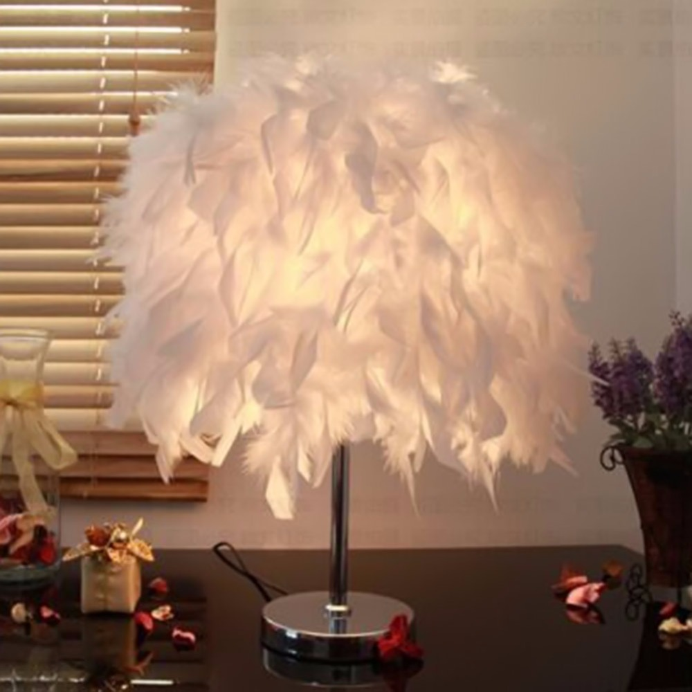 Chevet salle de lecture hall salon salon avec blanc de table de plumes - 2016 Nouveaut Blanc Aile Plume Bureau Lumi Re E26 E27 Ampoule Lampe De Table Chambre Salle