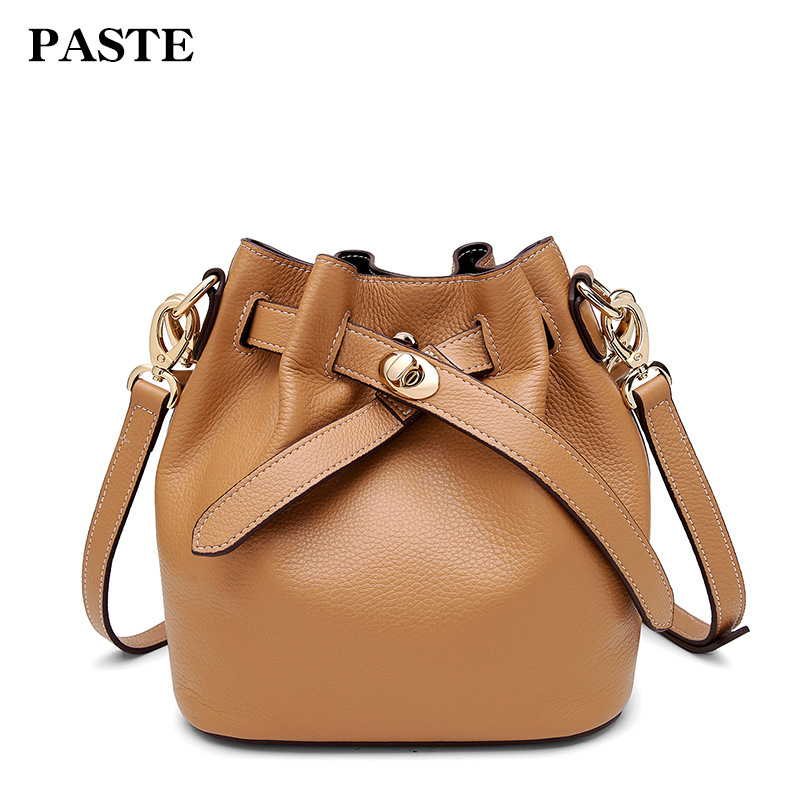 Genuine Leather Women Bucket Bag Female Cow Leather Shoulder Bags Small Famous Brand Designer Casual Composite Women Handbags vintage designer women backpack genuine leather bag famous brand cow leather women shoulder bag casual female backpack