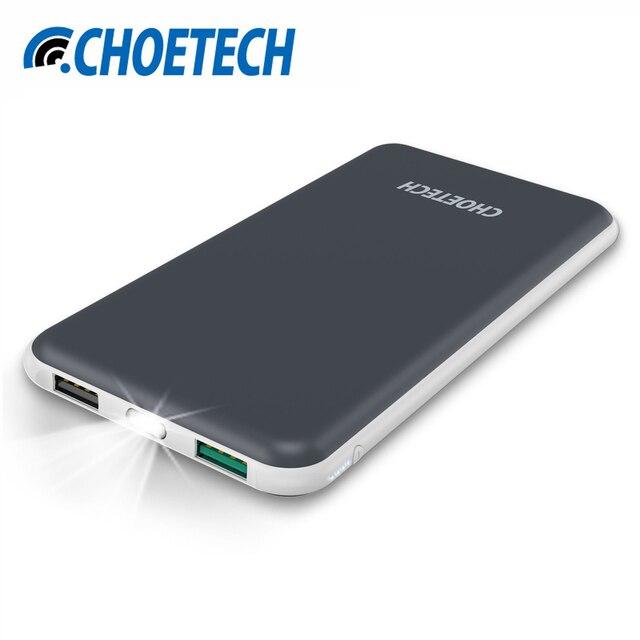 Choetech 10000 мАч Мощность банка для iphone dual usb Выход мобильного телефона Портативный Зарядное устройство Внешний Батарея для Samsung S8 Мощность Банк