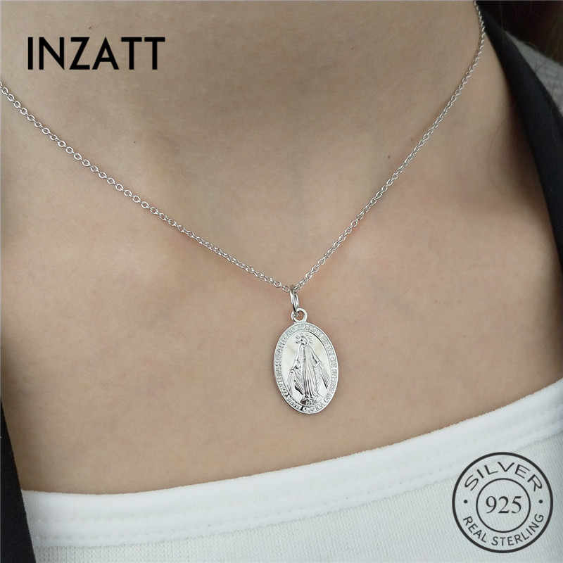 INZATT Gothic Religion Holy Mother Maria Pendant Necklace 925 Sterling Silver Fashion Jewelry Gold Color For Women Party Gift