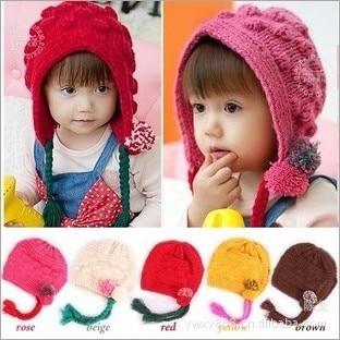 New arrival Cute Lovely Infant Kid Children earflap Knitted cap Beanie hat Beret Best Christmas gift for kids