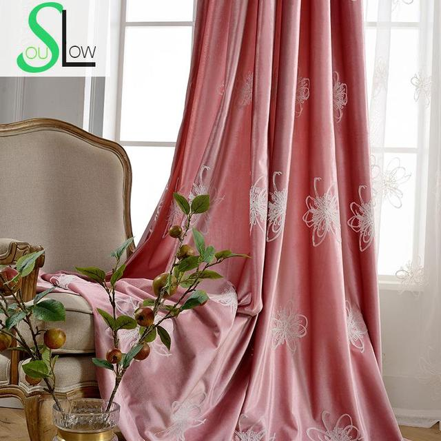 Slow Soul Good Quality Velvet Curtain Purple Pink Floral European And  American Curtains For Living Room