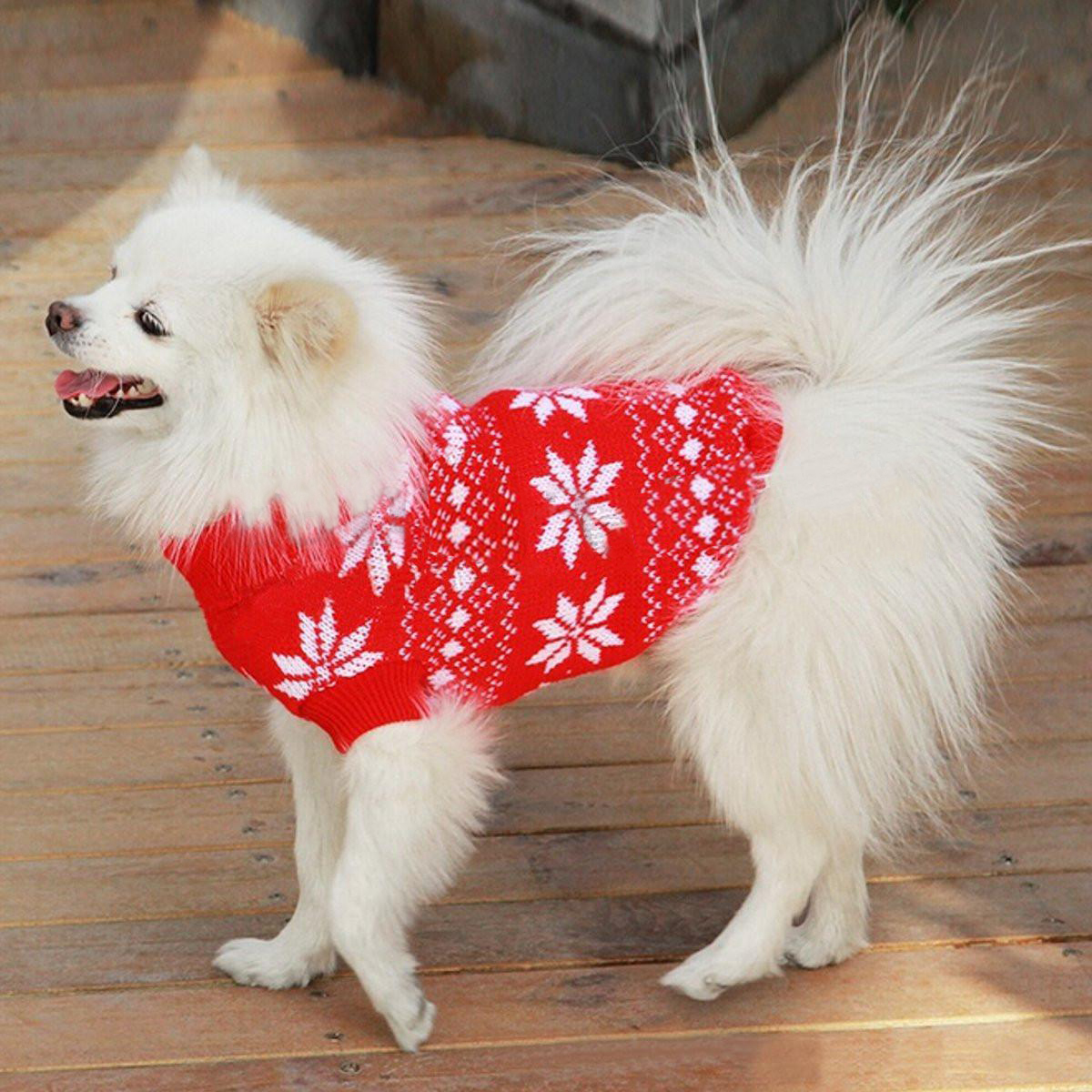 New Design Autumn Winter Knitted Dog Sweaters Snowflake Print Pets Puppy Dog Cat Warm Costume Christmas Pet Clothing