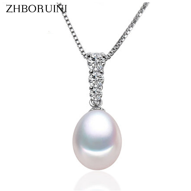 ZHBORUINI High Quality Pearl Jewelry AAAA Natural Freshwater Pearl Water Drop Pendant 925 Sterling Silver Jewelry For Women Gift