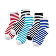 5 pairs/lot womens socks japanese harajuku stripe Breathable Prevent stinky cotton women sox white black wholesale