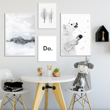 Polar Bear Poster And Snow Mountain Landscape Canvas Art Painting Wall Home Decoration Picture Nordic Simplicity Style