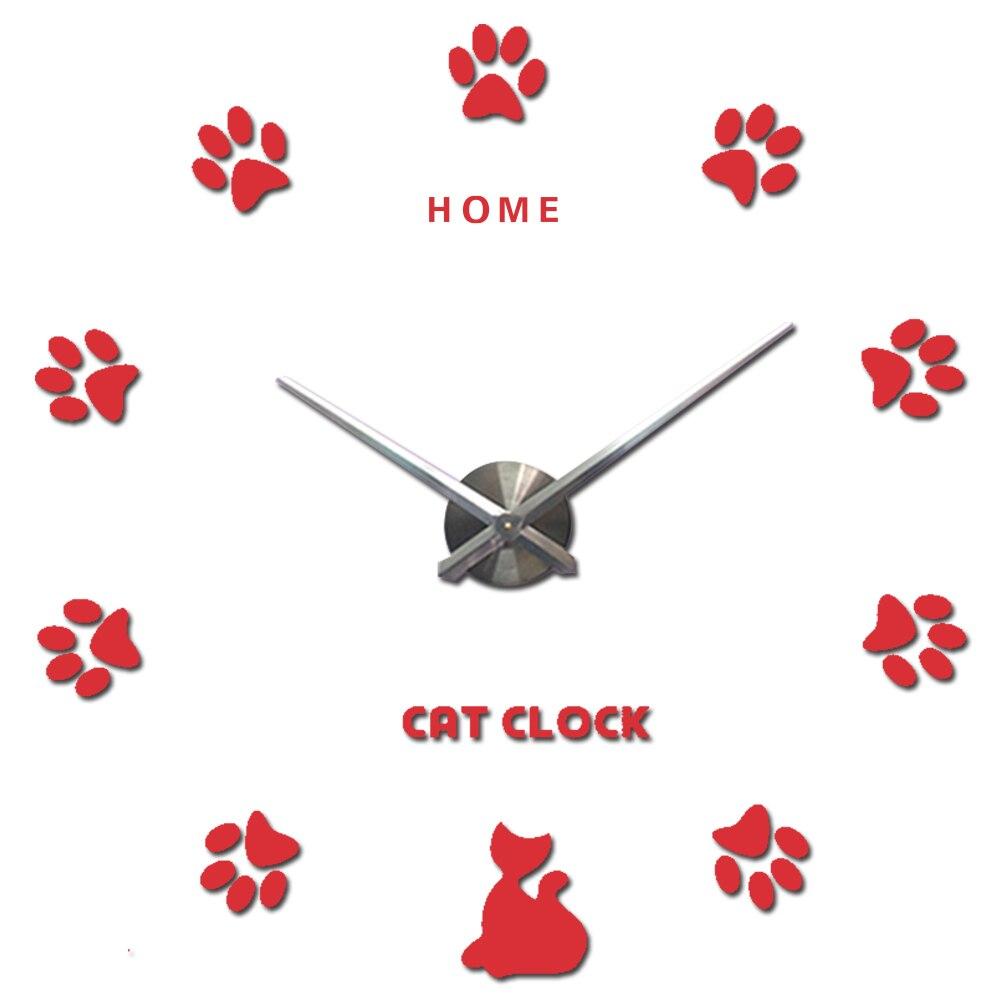 Home Letters Cat Claw 3D Wall Clock Quartz Metal Mirror Clocks Fashion Personality Diy Circular Living Room Wall Clock