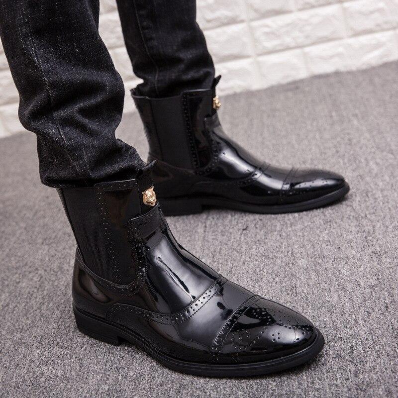 Cuir Chaussures slip Liée En Haute Pointu Non Bottes Verni Backcamel Martin  Des Chocs Hommes Black ... 7b32e285f78b