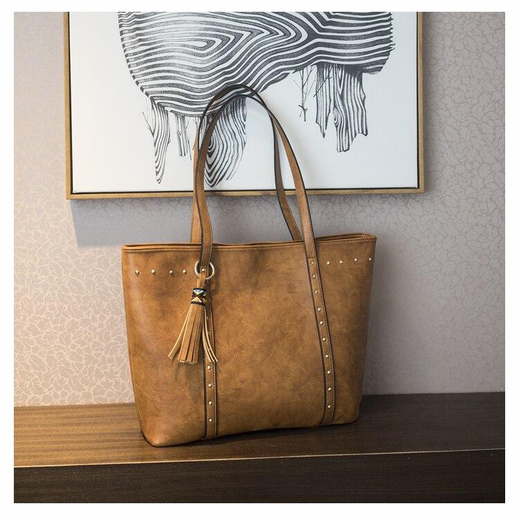 Rivet Leather Women Tote Handbag 25