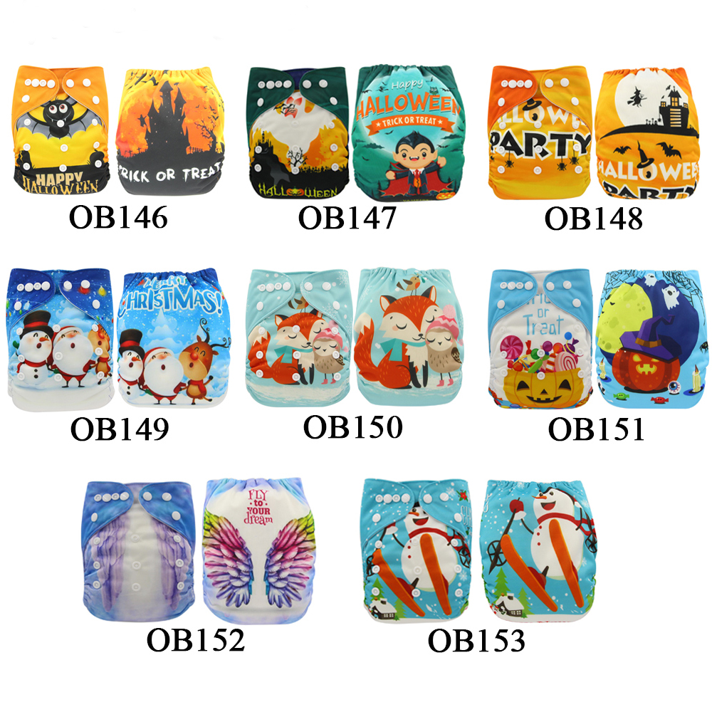 6pcs/Lot Baby Cloth Diaper Cartoon Digital Printed Adjustable Nappy Changing Reusable Christmas Infant Baby Pocket Diaper Cover