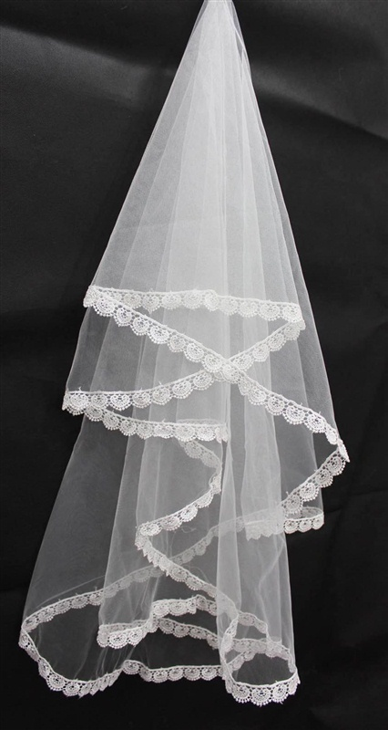 Real Photo White Ivory Wedding Veils Single Layer Lace Edge Bridal Veil Accessories 2019