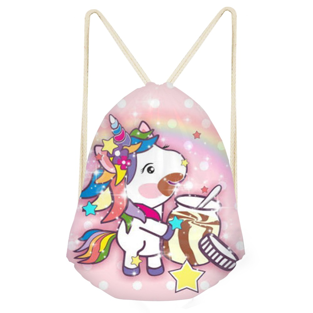 2019 Newest Kids Drawstring Bag Color Cartoon Lovely Unicorn Rainbow Printed Horse Casual Small Backpacks Girls