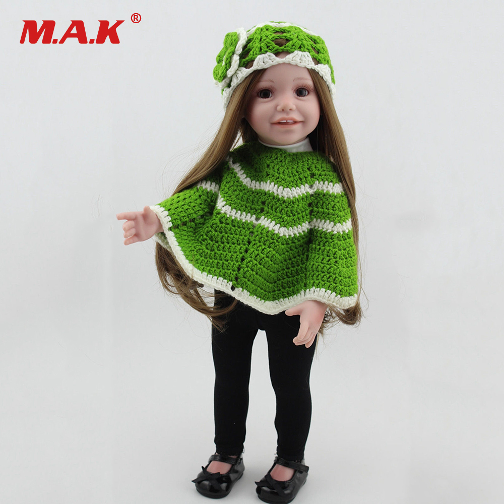 Children Gift 43cm 17 Inches Baby Reborn Girl Doll With Green Cloak Sweater Black Shoes Bebe Smiling Reborn Doll for GiftChildren Gift 43cm 17 Inches Baby Reborn Girl Doll With Green Cloak Sweater Black Shoes Bebe Smiling Reborn Doll for Gift