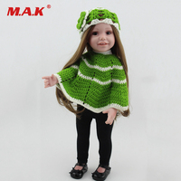Children Gift 43cm 17 Inches Baby Reborn Girl Doll With Green Cloak Sweater Black Shoes Bebe Smiling Reborn Doll for Gift