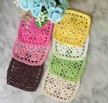 Luxury Doily Cup Pad Coasters Mat Cotton Crochet Place Mats Table 10cm Square Placemat Birthday Party Coaster Christmas