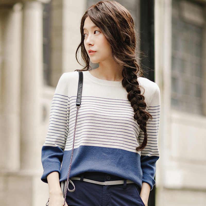 Ropa de Otoño de las mujeres de INMAN suelta a rayas pulóveres de punto fino suéteres Tops
