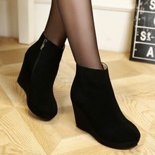 Scrub cattle cashmere waterproof slope with high-heeled boots side zipper Martin boots leather short boots 2015 Spring New