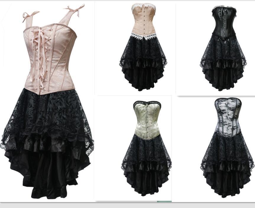 a66fae4a075 Women s Vintage Steampunk Corset Dress Victorian Retro Gothic Corset Top  Burlesque Lace Corset and Bustiers Party Dress