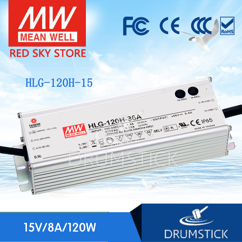 100% Original MEAN WELL HLG-120H-15 15V 8A meanwell HLG-120H 15V 120W Single Output LED Driver Power Supply 1mean well original hlg 120h 15d 15v 8a meanwell hlg 120h 15v 120w single output led driver power supply d type
