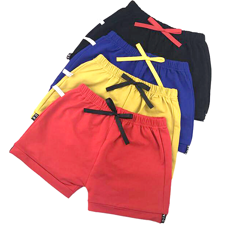 Summer Casual   Shorts   for Boy Baby Girls Children Clothes Bow Scanties Candy Solid Color Combed Cotton 1-6 Year Old Kids Pants