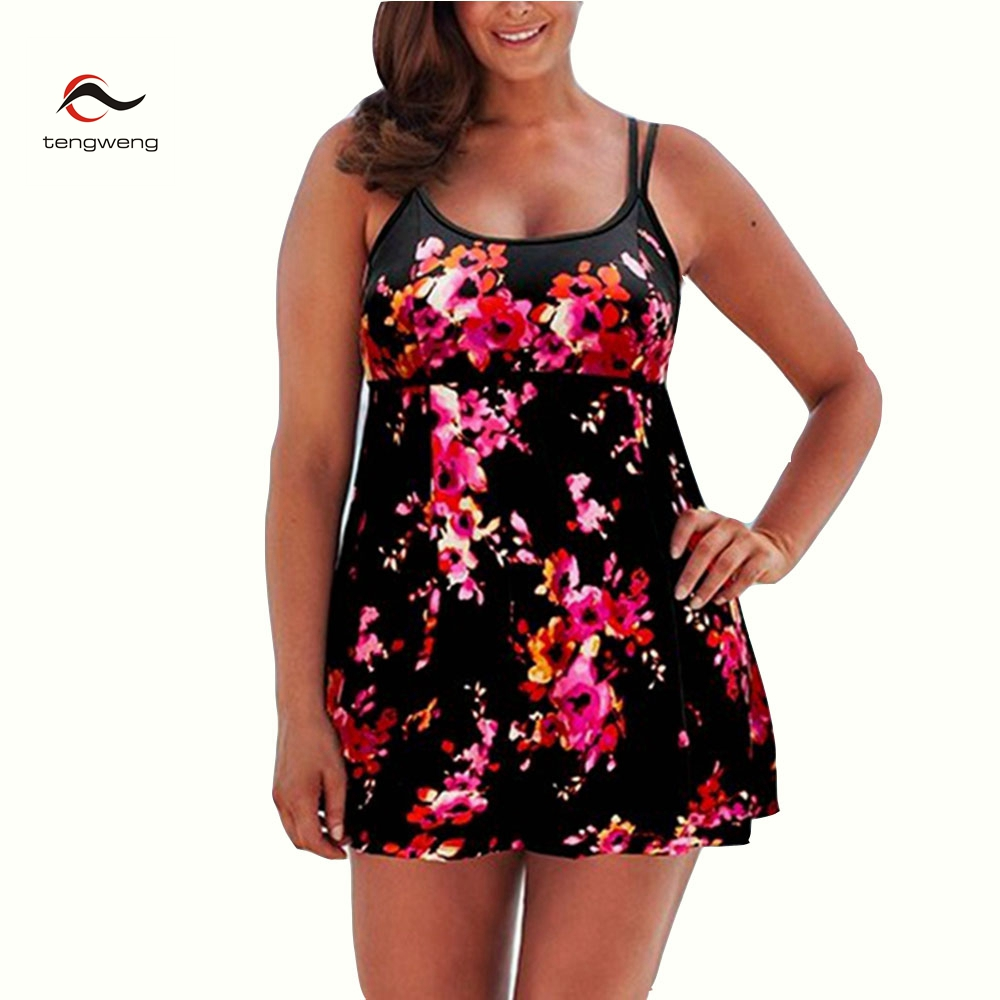 2017 New Floral Print Plus Size Monokini Swim Women Swimwear Brazilian One Piece Large Size Swimsuit Female Bathing Suit Skirts new one piece swimsuit women vintage monokini female high waist bathing suits black plus size swimwear swim suit m 4xl