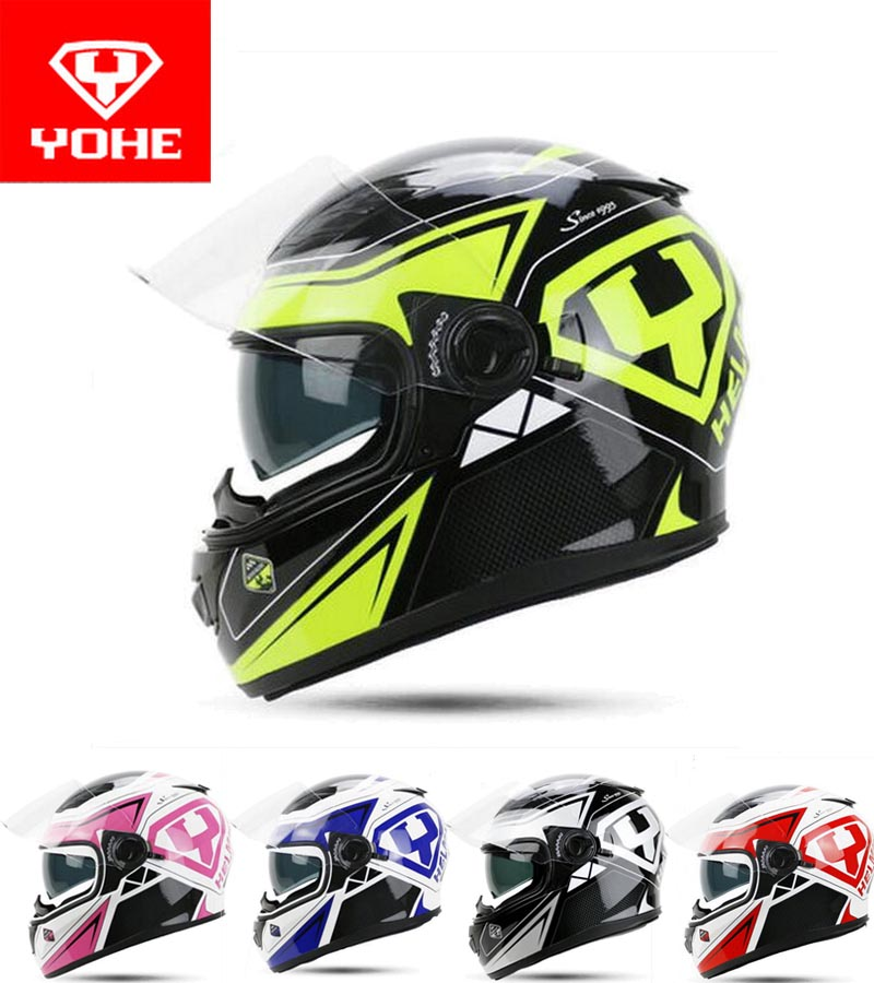 2017 Summer New YOHE Full Face Motorcycle helmet YH-970 double len motorbike helmets made of ABS / PC lens with Racing color 2017 summer new eternal yohe half face motorcycle helmet yh 868 abs motorbike helmet double lens electric bicycle helmets