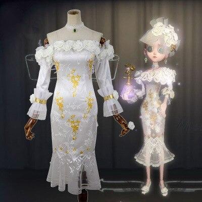 Haute qualité Anime chinois identité V Vera Nair femme Cosplay Costume blanc Rose robe + anneau + boucles d'oreilles + collier + nœud papillon