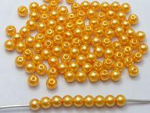 500 шт. 6 мм Пластик искусственный жемчуг круглый Бусины Золото Имитация жемчуга