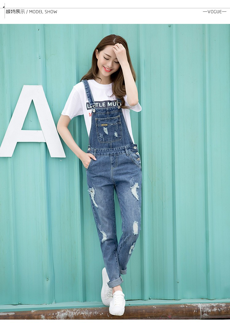 6ec8a363f281 Spring Fashion Ripped Jeans Jumpsuits Ladies Girls long Pants Casual ...