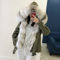 women new parkas real fox fur hoody collar liner 100% genuine army green coat genuine fur jacket warm thick female winter cloth