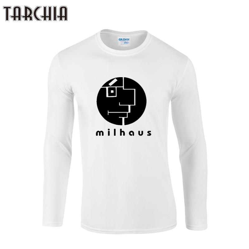 fb18eccdc8ec Tarchiia 2018 marca Bauhaus hombres manga larga Camiseta 100% algodón tops  tee moda fitness Milhouse más tamaño camiseta homme