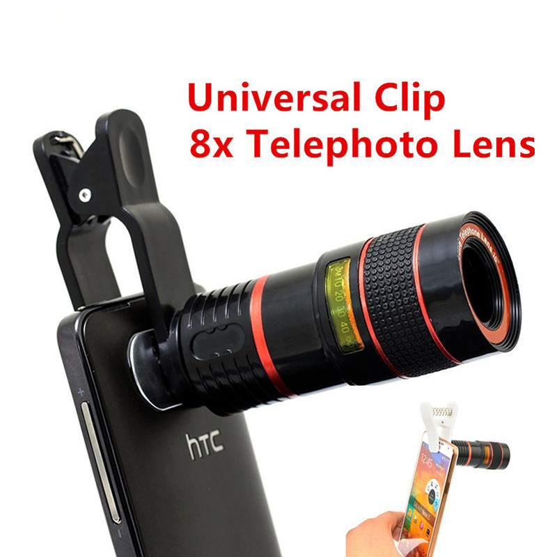 8X Zoom Telephoto <font><b>Lenses</b></font> Optical Telescope Mobile Phone Camera <font><b>Lens</b></font> With Clips For Samsung Galaxy S3 S4 <font><b>S5</b></font> S6 s7 iphone 6 6s image