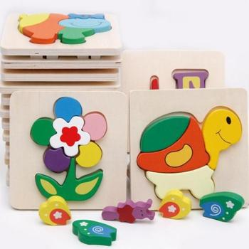 2 pieces cartoon educational animal wood toy baby toys children Multifunction Baby Early Learning Wooden puzzle Frees Shipping toys for 2 month old