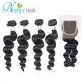 Bloomy Hair Loose Wave 4 Bundles With Lace Closure  Unprocessed Brazilian Hair Virgin Hair Free Shipment