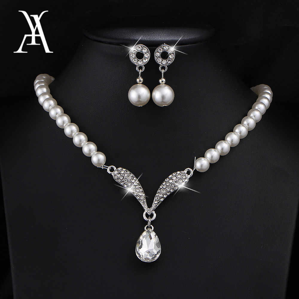 AY Charm Simulated Pearl Water Drop Crystal Jewelry Sets for Women Pendant Necklaces Earrings Bracelet Bridal Wedding Jewelry