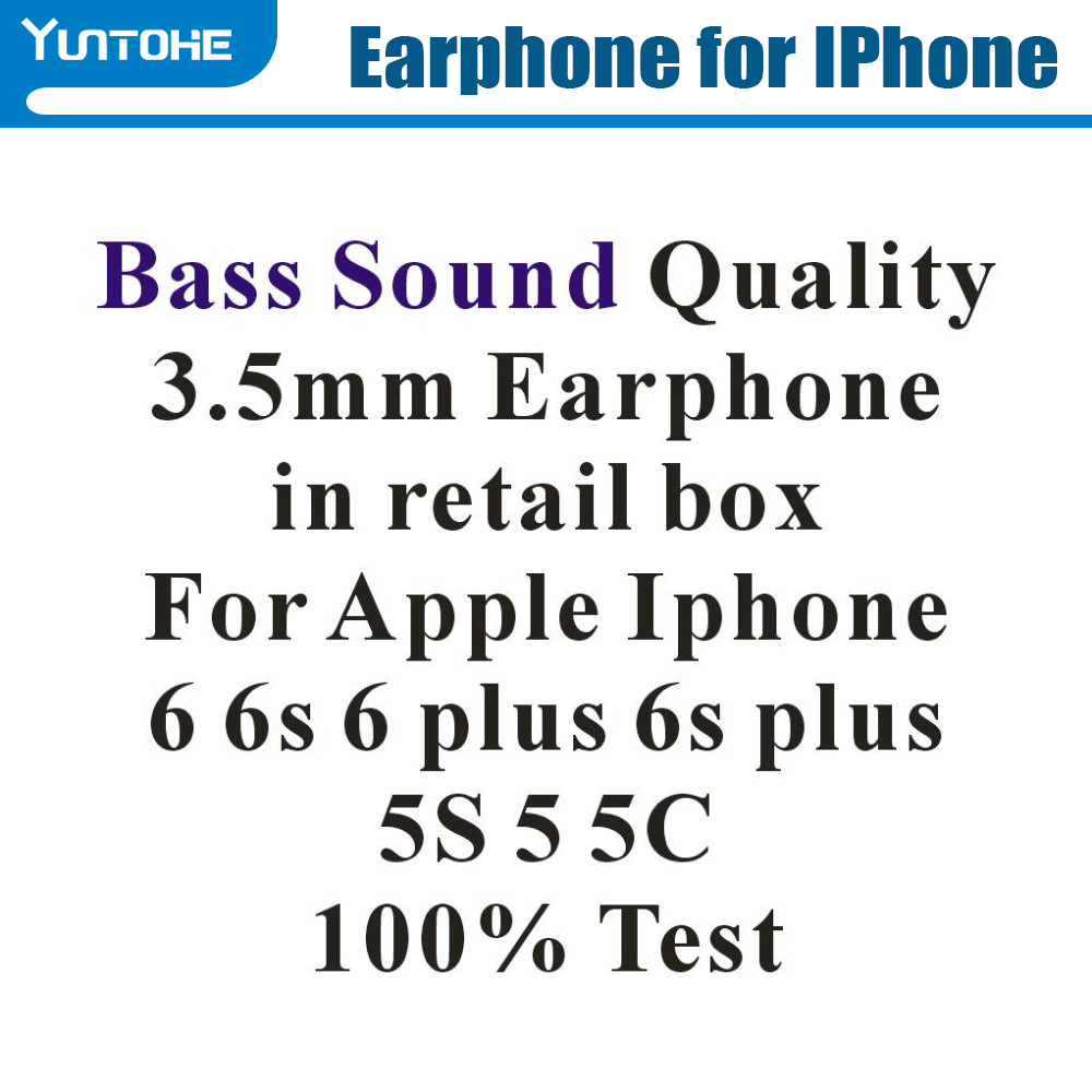 US $1250 0 |Wholesale 3 5mm Bass Sound Quality Earphone With Remote Mic  Volume Control For iPhone 5G 6G 6Plus 100% Test 1000pcs/lot Free DHL-in