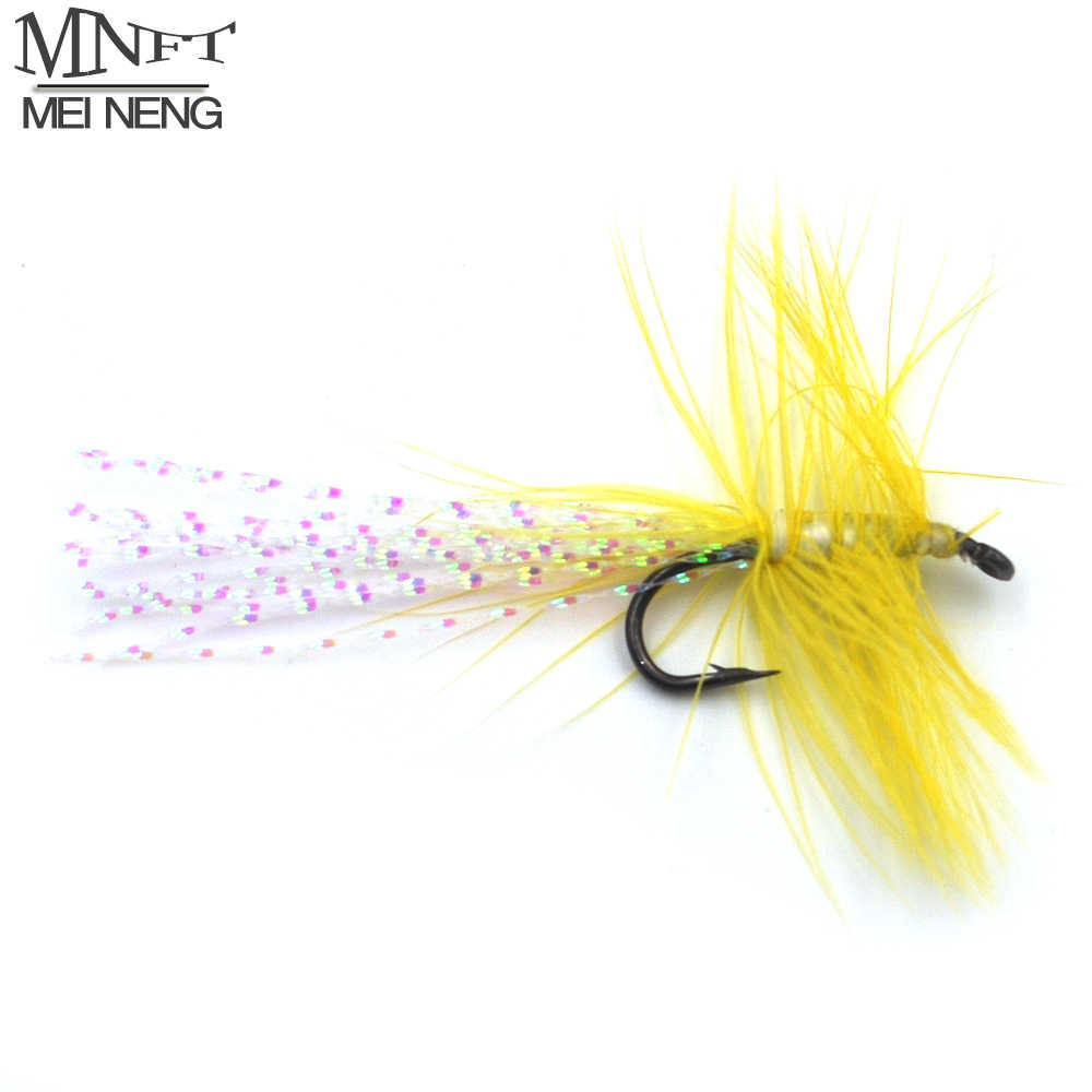 MNFT 9 # Trota Salmonata Steelhead Pesca A Mosca Streamer Vola Con Giallo Brillante Barba 10 pz/lotto Prezzo di Promozione