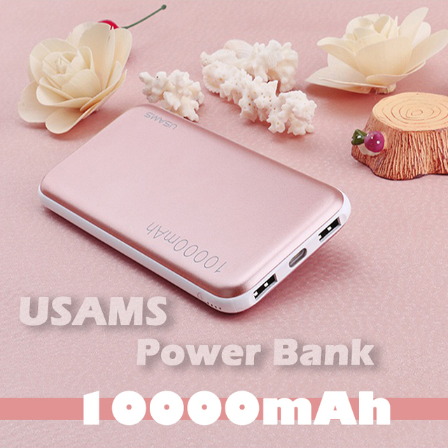 Usams marca new original power bank 10000 mah dupla saída banco de potência com lanterna para iphone samsung sony smartphone