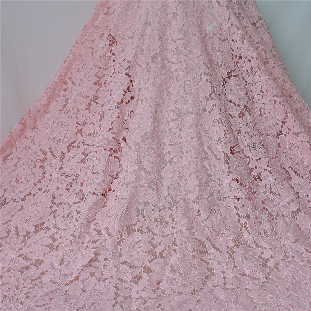 140cm Width 1.5 Meters Length Alencon Lace Fabric With Corded In Pink For Party Dress, Home Decor-in Lace from Home & Garden