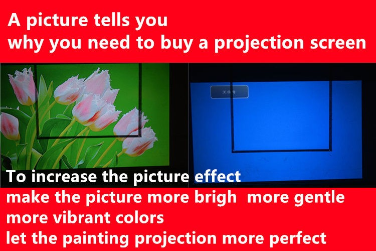 PVC Fabric Matte With 1.1 Gain Projector projection screen Wall Mounted Matt White for all projector (1)