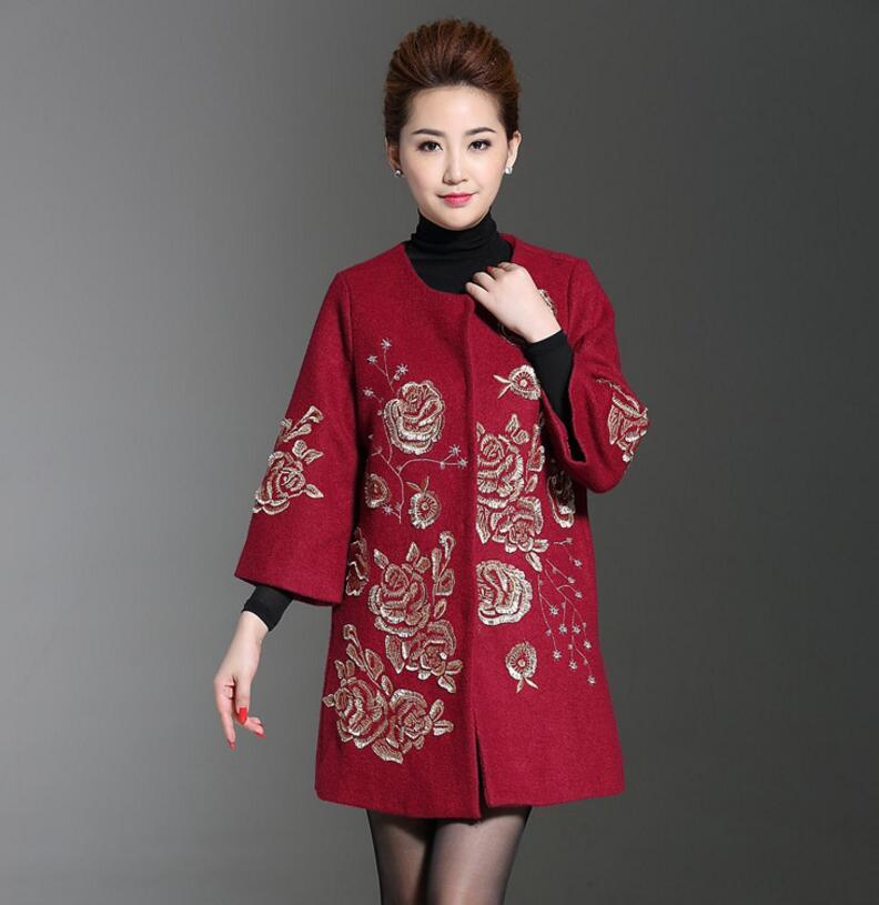 La Laine Automne Pardessus D'âge Black Manteau Broderie De 2018 Cachemire Manteaux Moyen wine Femmes Red Plus W116 Longue Taille Hiver Femme OqpOF